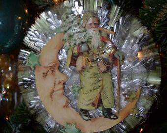 Santa on Green Glass Ornament