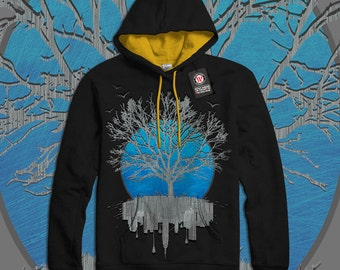 Urban Mirror Tree City View Men Black (Gold Hood) Contrast Hoodie S-2XL NEW | Wellcoda *y3092