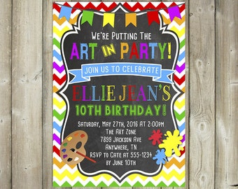 Art Birthday Party Invitation - Painting Party - Art Party - DIGITAL FILE