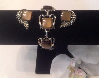 Vintage Brown Moonglow Bracelet and Earrings Set, vintage Coro, Vintage jewellery Set, Moonglow