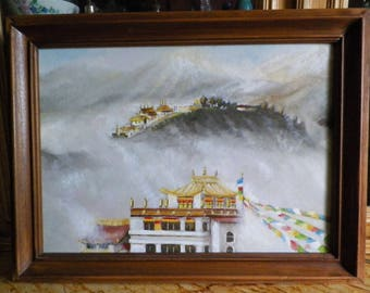 Painting Tibetan monastery, painting on theme Nepalese Buddist monastery oil painting, unique original work, by Alain Bongiorno