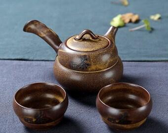 Pottery Tea Set Ceramic Teapot with Tea Cups Chinese Tavel Tea Set