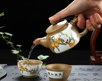 Chinese Pottery Tea Set Vintage Ceramic Tea Set with Gift Box Package Free Shipping