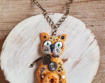 Handmade Polymer clay Steampunk Ginger Cat necklace