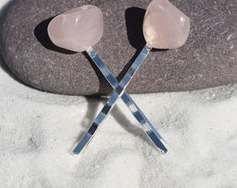 Rose Quartz Stone Hair Pins (Quantity of 2)