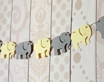 Elephant Garland - Grey and Yellow Baby Shower - Baby Elephant Banner - Die Cut Party Decor - Table Decorations - Gender Neutral Baby Shower