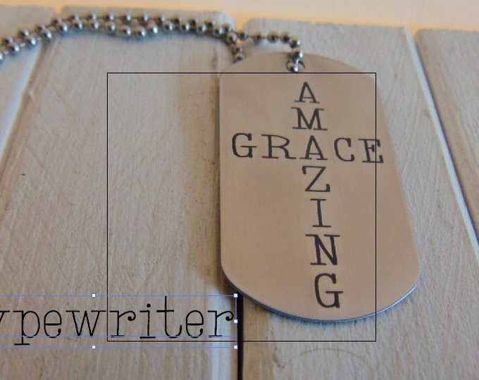 Religious Amazing Grace Dog Tag shaped as a Cross, Five Styles available, Custom message or signature on the back in your hand writing gift