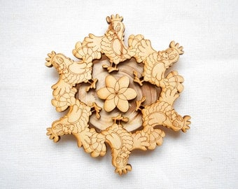 Wooden trivet Rooster, Coaster for hot. Hot mat. Wooden stand for hot. Diameter 4,72 inches