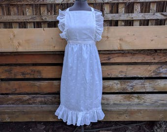 Vintage Full White Ruffled Apron Pinafore 1950's 60's Style Made in 1980