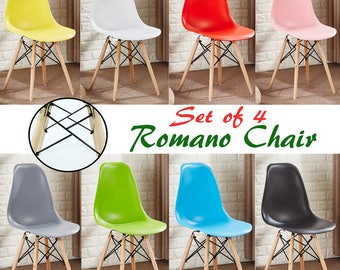 Set of 4 ROMANO Retro Style Chair design / chaise Retro design scandinave Dining Chair or Office Chair