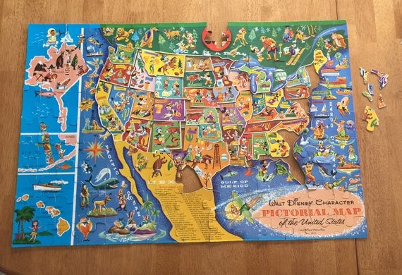 Crafting puzzle incomplete vintage disney characters united states crafting puzzle incomplete vintage disney characters united states map pictorial jigsaw puzzle missing 5 larger pieces original box from brownfieldvintage gumiabroncs Image collections