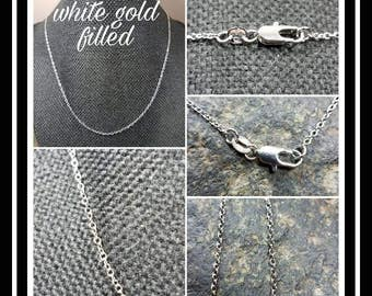 """White Gold Filled Chain Upgrade/ White Gold Filled 20"""" Chain/ Sterling Silver Chain"""