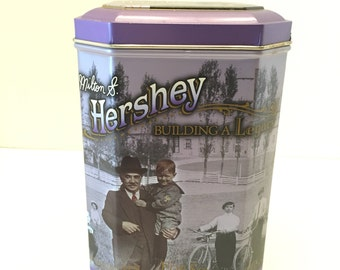 Hershey's Tin Can ~Building a Legacy Canister Series ~ #3 ~ Milton S Hershey ~ 1996 ~ Hershey Can ~ Vintage
