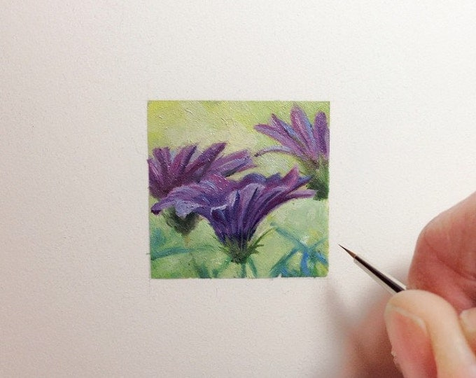 Original Miniature painting of Purple Flowers. Tiny painting, Purple Flowers tiny art 5 x 5