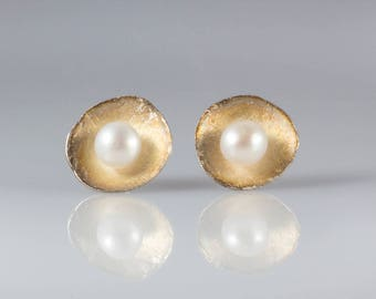 Gold Patina Dish Sterling Silver Earrings with Pearl