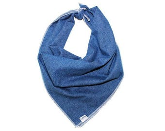 Denim Traditional Tie on Dog Bandana / Scarf