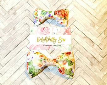 Floral bow tie, dapper, wedding, Boys bow tie, men's bow tie, Bow tie clip, cotton fabric, floral, hairbows, sisters, mother and daughter,
