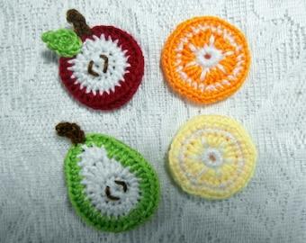 4 Fruit Fridge Magnets - Crochet Food Picture Set - Mini Refrigerator Magnets-  Knit Apple Orange Pear Birthday Stocking Filler Kitchen Gift