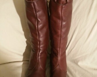 Final Clearance Brown Leather Corelli Knee Boots 7.5B