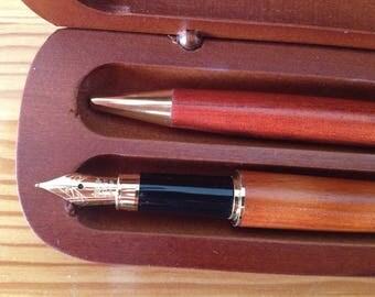 Vintage Luxury Collectibles Golden pen IRIDIUM POINT set, black piston filler fountain pen, German Luxury pen set in original wooden box