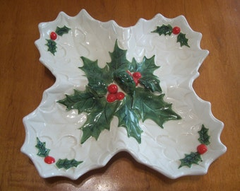 Lefton White Holly Four Section Candy Dish 1970/71