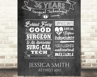 Surgical Tech Retirement Print - Surgical Technician Retirement Gift, Retiree Gift, Retirement Poster - Printable File