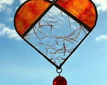 I Heart You - Red Orange Sun Catcher