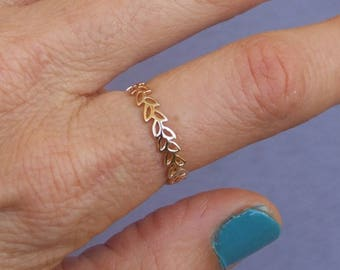 Gold Ring, Gold Leaf Ring, Gold Floral Ring, Yellow Gold Ring