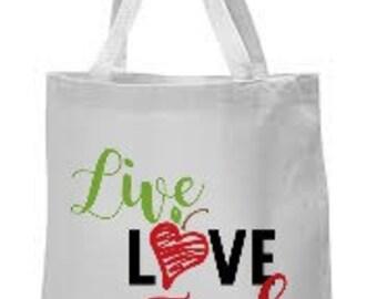 Canvas tote Live,Love,Teach