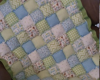 Blue and green floor puff quilt