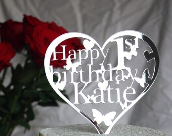 Heart Birthday Cake Topper Personalised Decoration-ANY Name and Age in mirror, black, white, silver, gold or pink. 1st,16th,18th,21st,30th