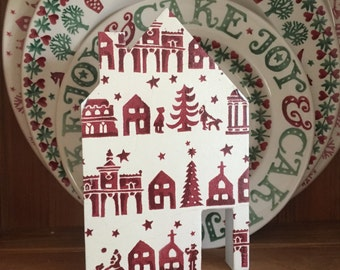 Christmas Town - Emma Bridgewater -Freestanding Wooden House Christmas Decoration