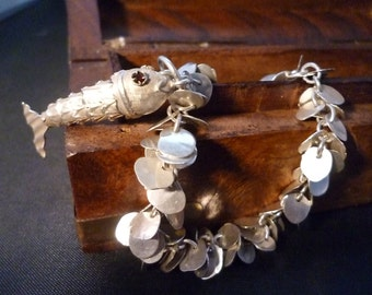"""Unique silver fish bracelet - 925 - sterling silver - vintage - 8.5"""" - unusual - chunky"""
