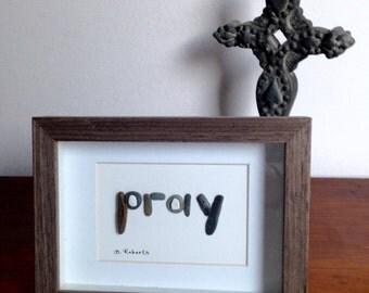Pray - Pebble Art Shadowbox