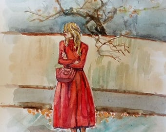 "Original watercolor painting, Autumn Red-fashion girl , 10""x8"", 1704117"