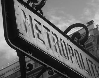 Paris Metro Sign Black and White Paris Photography Print - travel photography print - Paris - paris wall art-  photography -  fine art print