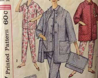 Simplicity 4184 misses pajamas, robe and bag size 12 bust 32 vintage 1960's sewing pattern