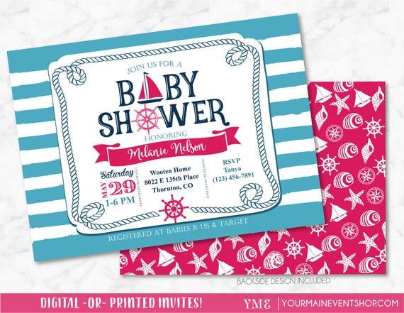 Nautical Girl Baby Shower Invitation - Pink Sail Boat Beach Boy Baby Shower - Anchor Invite # 023