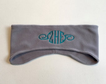 Polar Fleece Monogramed Headband || Gray Ear Warmers || Personalized Gift by Three Spoiled Dogs Made in USA