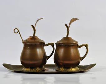 Copper Milk Jug Sugar Bowl Spoon And Tray With Leaf Design Handle Farmhouse Kitchen