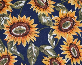 Navy Blue Sunflower Fabric, Copyright Design Club, Sunflower Fabric, Floral Fabric, Quilitng Fabric,