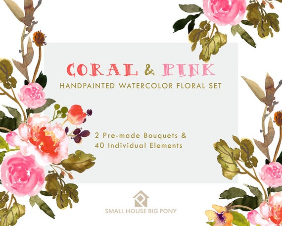 Digital Clipart- Watercolor Flower Clipart, peonies Clip art, Floral Bouquet Clipart- Coral and Pink Elements & 2 Bouquets