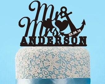 Mr & Mrs Cake Topper,Wedding Mr and Mrs Surname Cake Toppers,Nautical Wedding Cake Topper,Unique Beach Wedding Anchor Cake Topper Mr Mrs