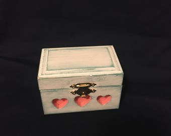 Rustic Teal/Coral Wooden Ring Bearer's Box