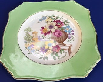 "Antique Art Deco Ryal Winton Grimwades 9"" Decorative Floral Serving Plate"