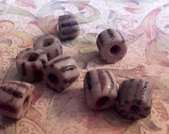 Vintage striped sand cast African trade beads
