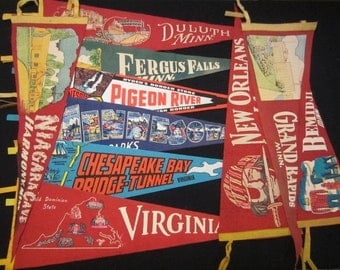 Vintage Felt Travel Pennants - Minnesota, Louisiana, Virginia