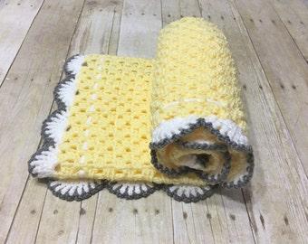 Yellow Grey Blanket, Granny Square, Crochet Baby Blanket, Yellow Baby Blanket, Crochet Afghan, Handmade Blanket, Crochet Blanket Baby Afghan