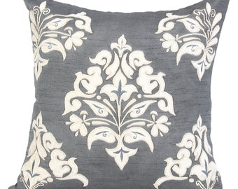 Grey Damask Decorative Pillow Cover Grey Embroidered Throw Pillow Grey Accent Pillow 14x14 16x16 18x18 20x20