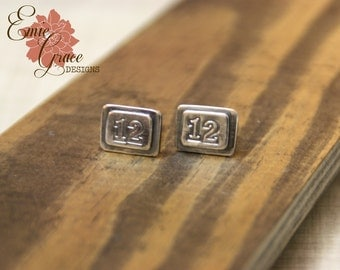READY to SHIP - Sterling Silver Seattle Seahawks 12th Man Cufflinks, Rectangle Cuff Links, Hand Stamped, Shirt Fasteners